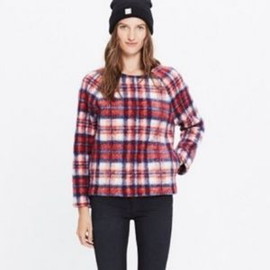 Madewell Nicolette wool blend plaid top pullover